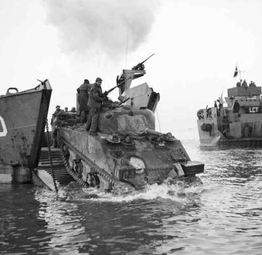 Sherman Tank landing at Anzio.