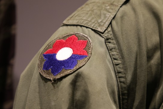 Detail, General Westmoreland's Combat Coat, 9th Infantry Division Shoulder Sleeve Insignia (LEW-01104)