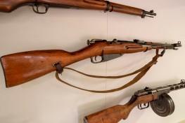 Japanese Army Carbine, circa 1940 (LEW-07380), Soviet Mosin-Nagant Carbine, circa 1945 (LEW-00730), Soviet Submachine Gun, circa 1943 (LEW-00056)