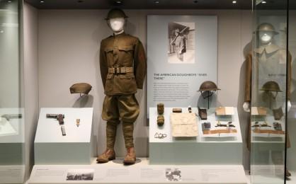 WWI exhibit case with Swanes uniform.